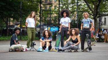 "Actors in the film ""Skate Kitchen,"" from left,"