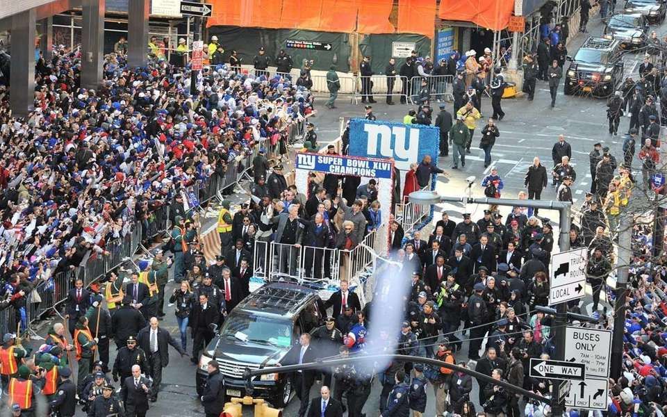 A float carrying the Super Bowl champion Giants