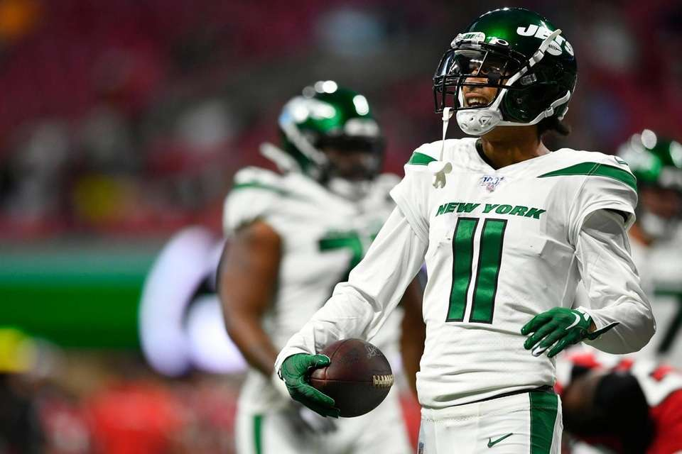 New York Jets wide receiver Robby Anderson reacts
