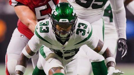 New York Jets strong safety Jamal Adams celebrates