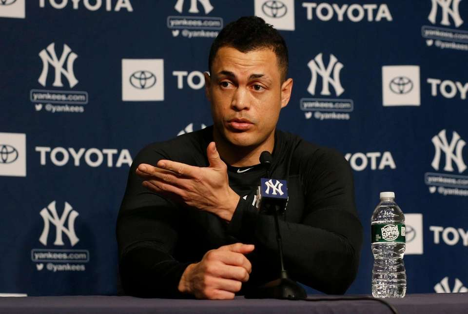 Giancarlo Stanton of the New York Yankees speaks