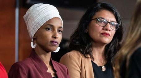 Reps. Ilhan Omar and Rashida Tlaib in July.