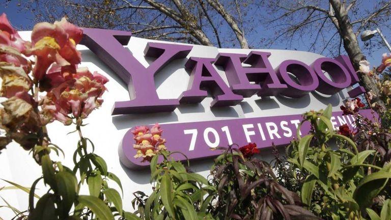 A Yahoo company logo at Yahoo headquarters in