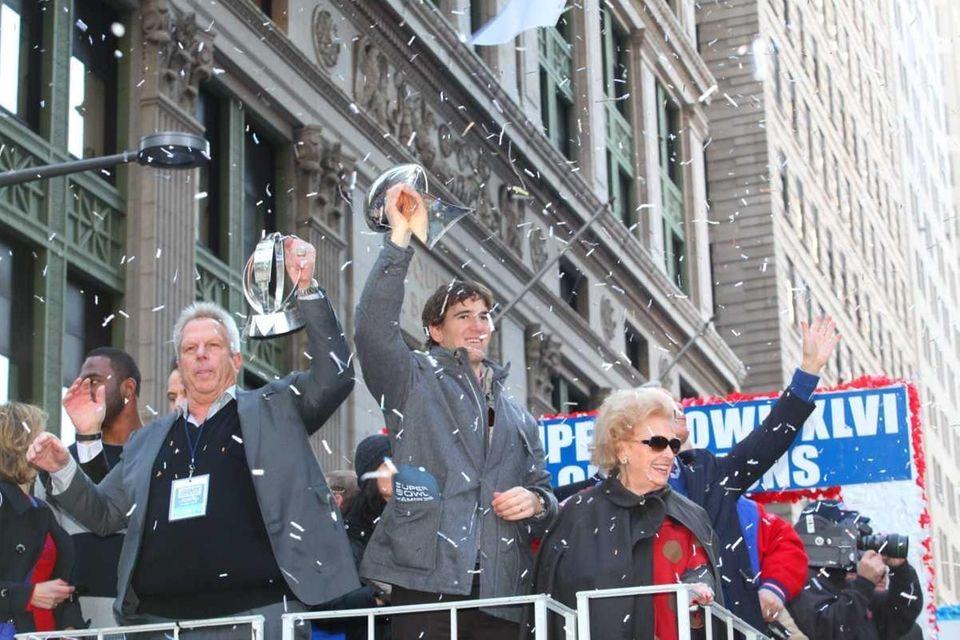 New York Giants owner Stephen Tisch, left, and