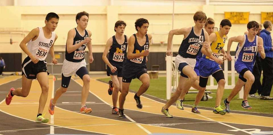 Runners compete at the start of the 3200