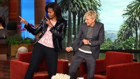 Talk show host Ellen DeGeneres with first lady
