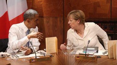 Then-President Barack Obama and then-German Chancellor Angela Merkel