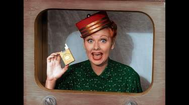 Lucille Ball as her iconic TV character in