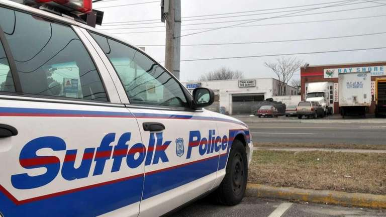 A police cruiser outside of the Suffolk County
