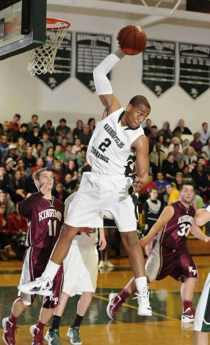 Harborfields' John Patron grabs a rebound in the