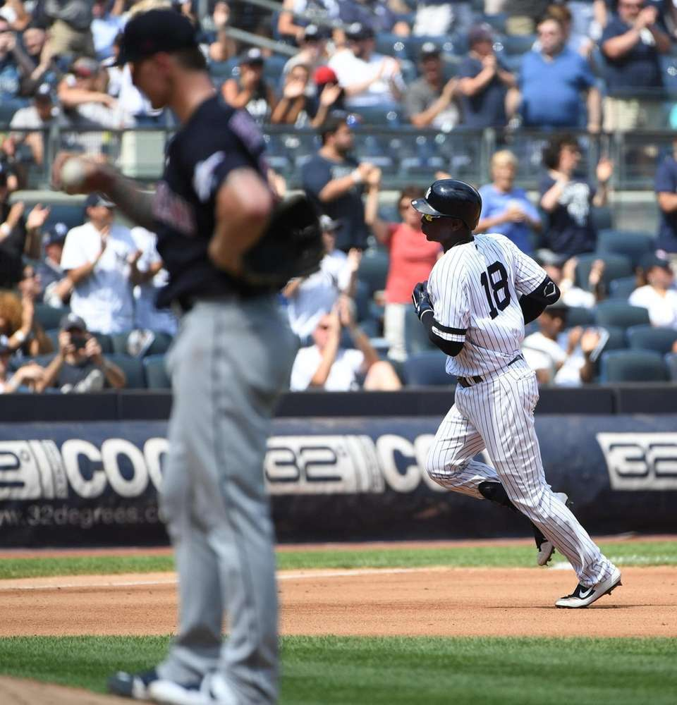 New York Yankees designated hitter Didi Gregorius rounds