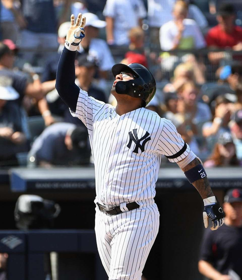 New York Yankees shortstop Gleyber Torres reacts as