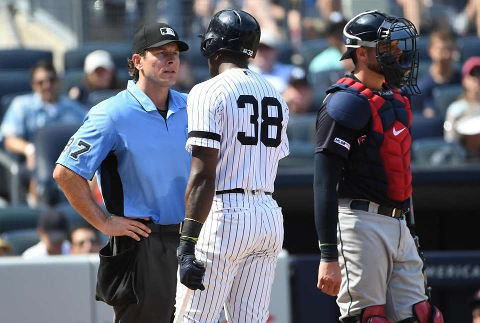 New York Yankees' Cameron Maybin questions home plate