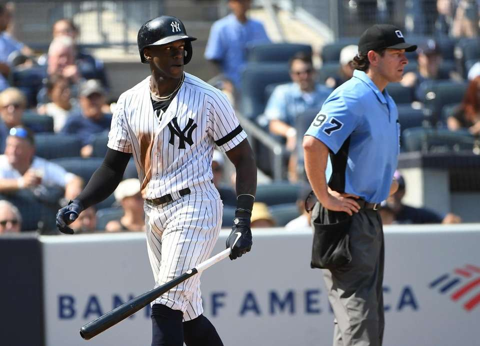 New York Yankees' Cameron Maybin returns to the