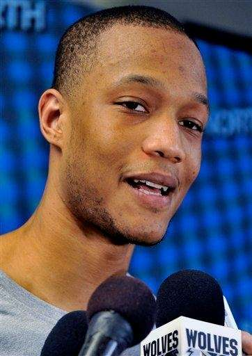 Minnesota Timberwolves' Anthony Randolph meets with the media