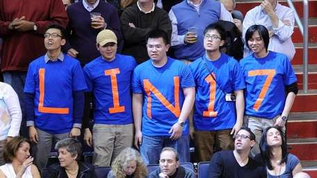 A group of fans show their support for