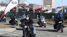 Motorcyclists take off from the Cradle of Aviation