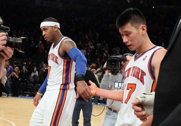 Jeremy Lin, right, and Carmelo Anthony, left, celebrate