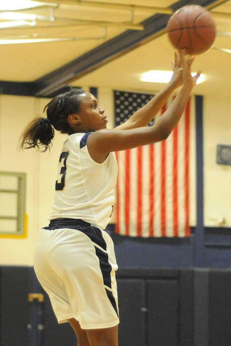 Baldwin senior Amber Harrison drains a basket in