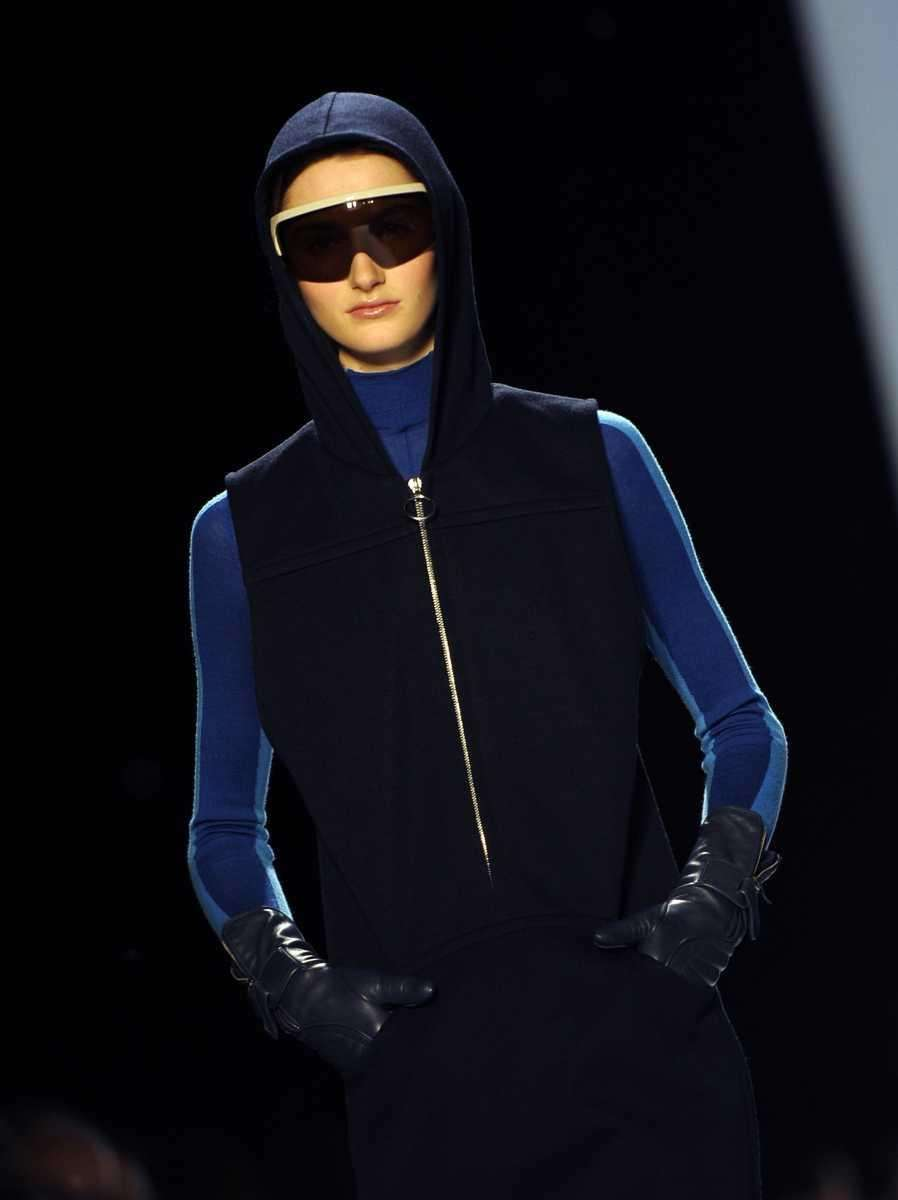 A model displays an outfit during the Lacoste