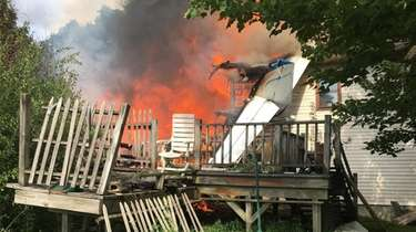 A fire engulfs a home in upstate Union