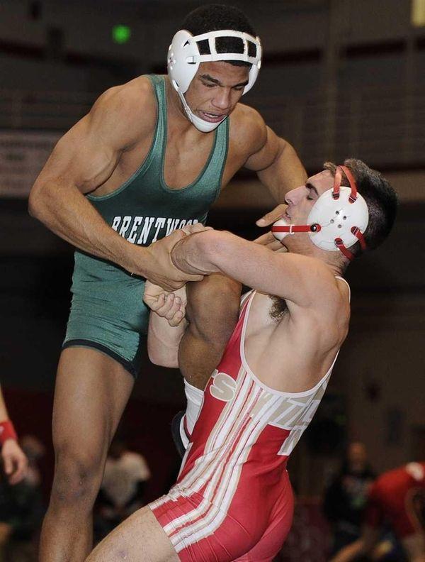 Hills West's Tyler Grimaldi lifts Brentwood's Carlos Toribio