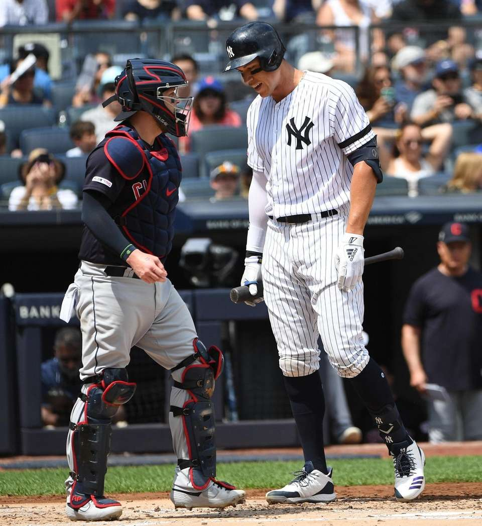 New York Yankees right fielder Aaron Judge reacts