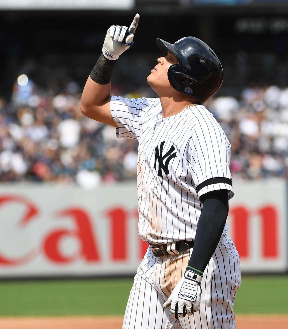New York Yankees' Gio Urshela reacts after he