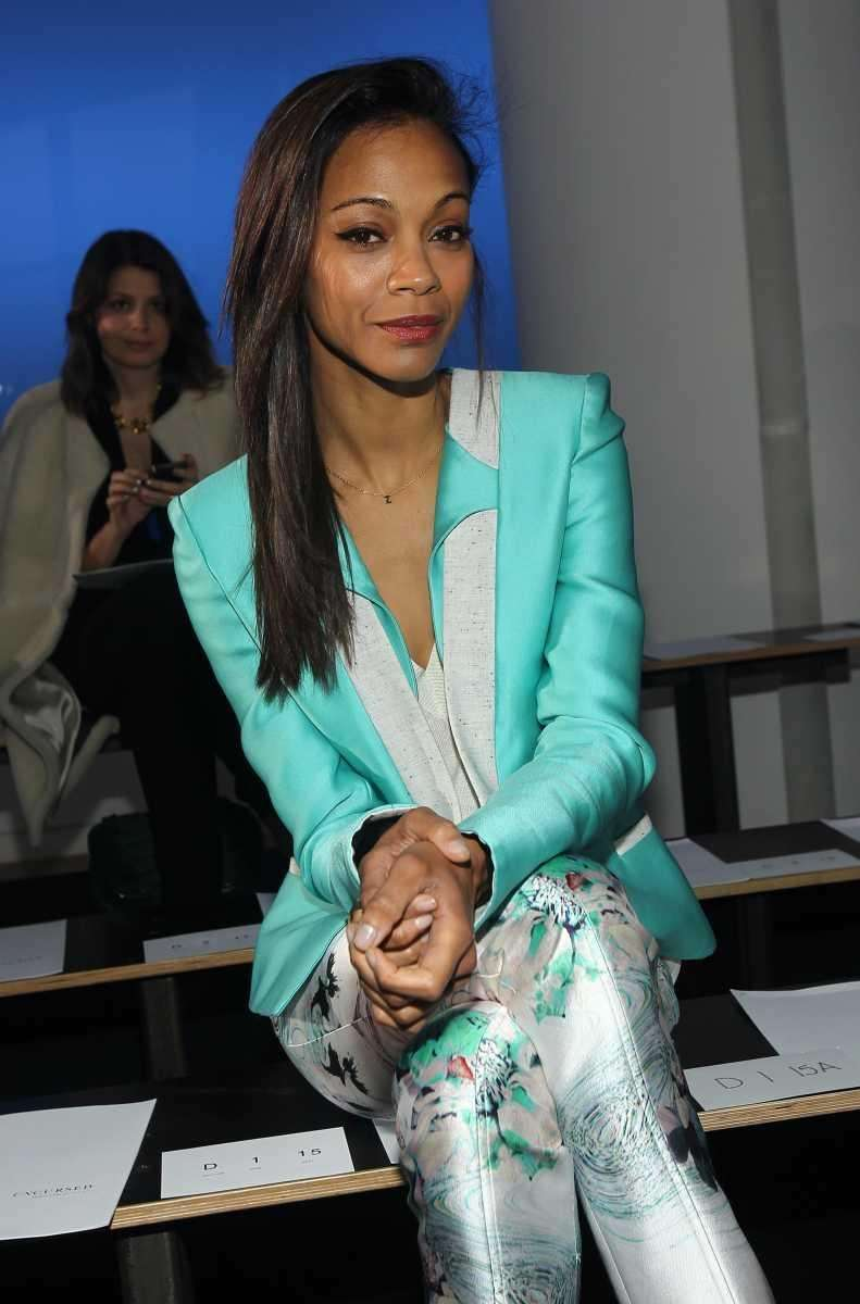 Actress Zoe Saldana attends the Prabal Gurung Fall