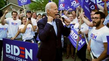 Former Vice President Joe Biden meets with supporters