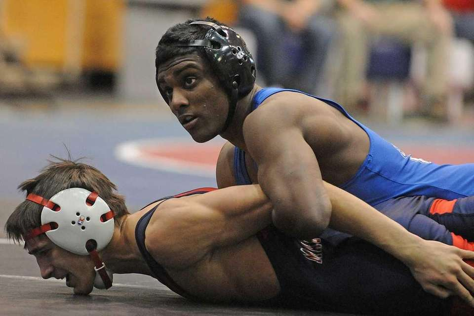 Mark Raghunandan of Long Beach, top, battles Anthony