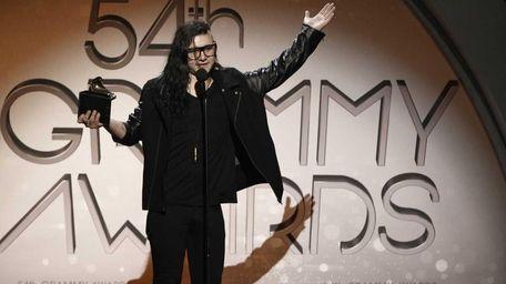 Skrillex accepts the award for best dance recording