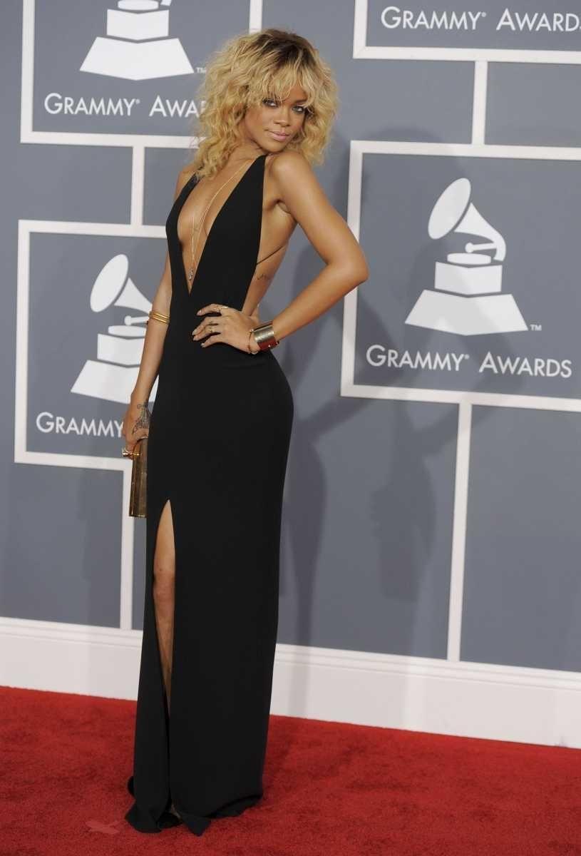 Rihanna arrives at the 54th annual Grammy Awards