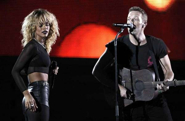 Rihanna, left, and Chris Martin of the band