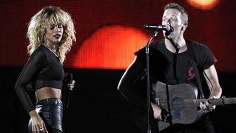 Rihanna, left, and Chris Martin of the band