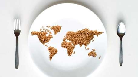 World Map on white plate.