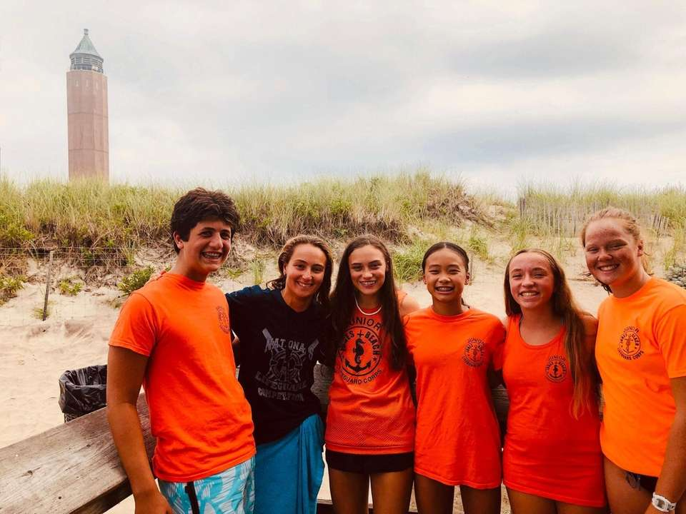 Jones Beach Junior Lifeguards and their coach, Brooke,