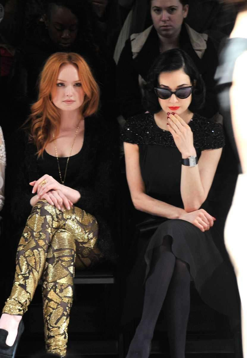 Actress Kaylee DeFer, left, and Dita Von Teese
