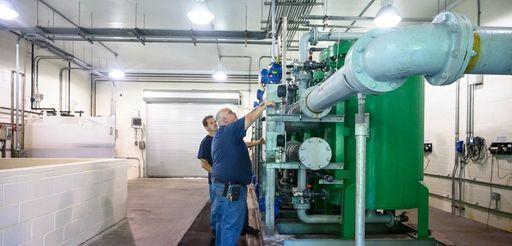 Water plant operators Joe Barbarito, left, and Richard