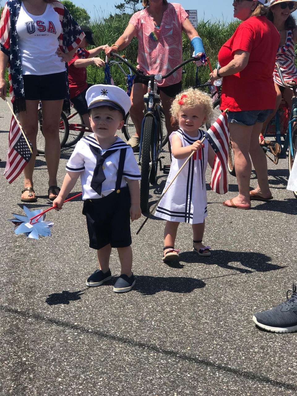 Billy and Gracie Trudden proudly march in the