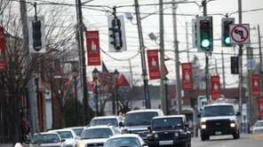 A pedestrian crosses Hempstead Turnpike in Franklin Square