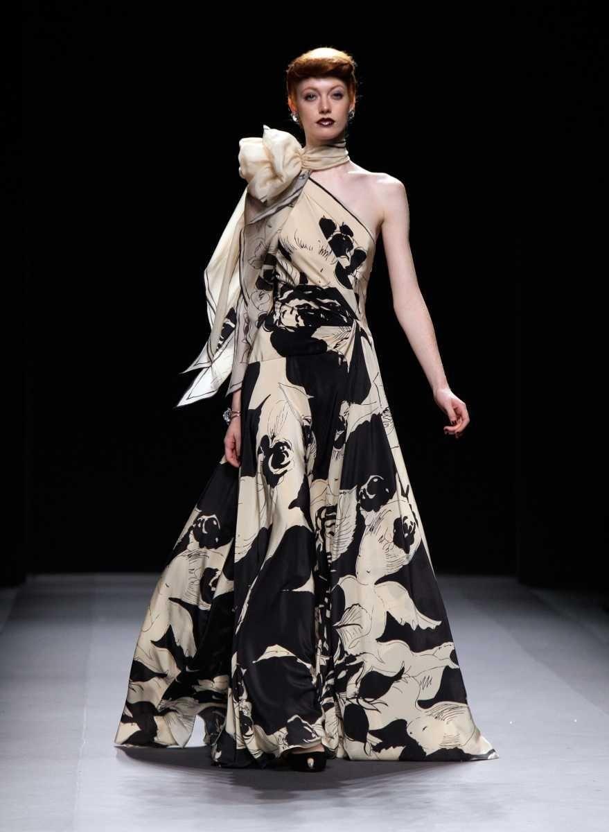 A model walks in the Jenny Packham show