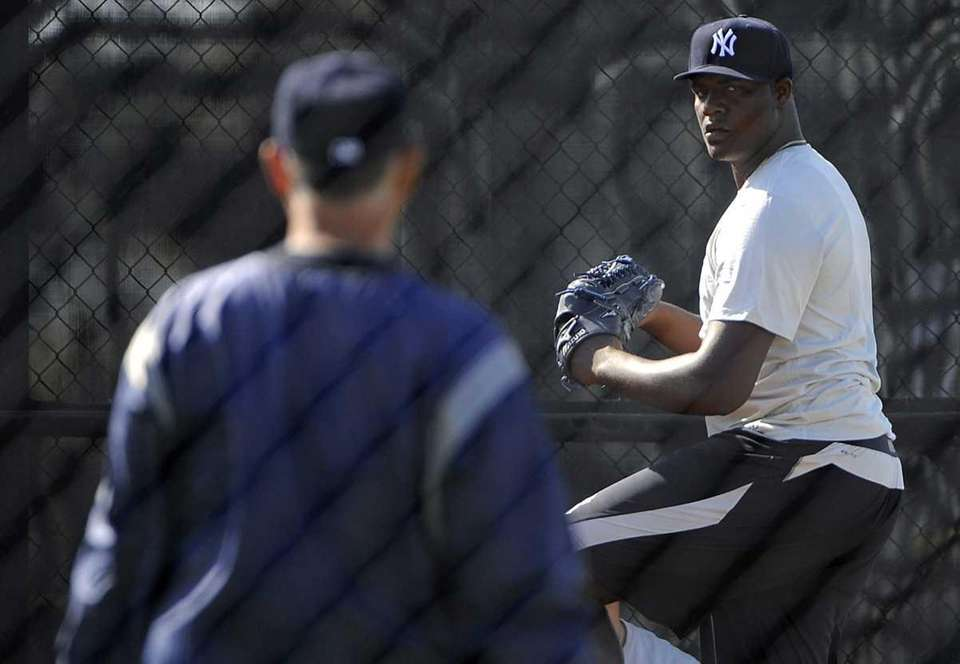 Yankees pitcher Michael Pineda works out during a