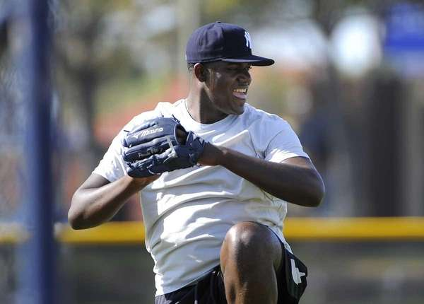 New York Yankees pitcher Michael Pineda works out