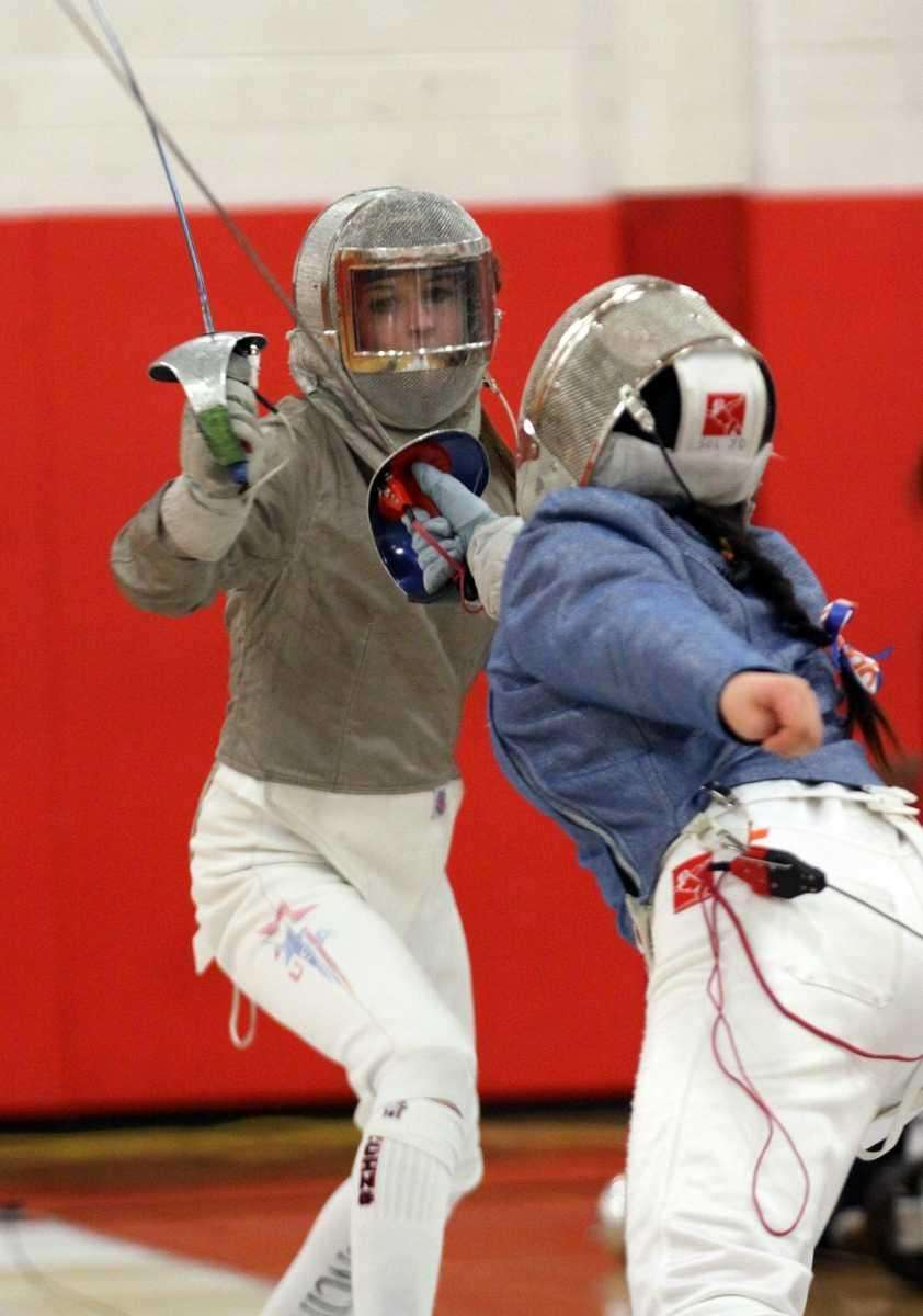 Alexa Antipas in her Sabre match during the