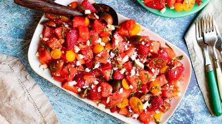 Watermelon, strawberries and tomatoes make a sweet and