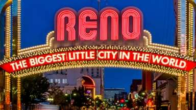 Iconic welcome sign in Reno, Nevada.