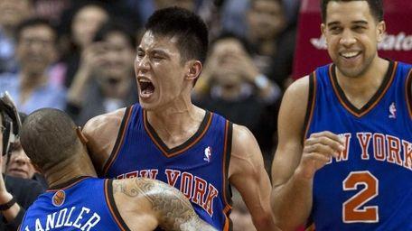 New York Knicks guard Jeremy Lin celebrates with