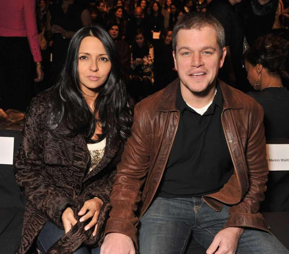 Luciana Barroso and actor Matt Damon attend the