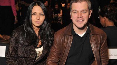Luciana Barroso and actor Matt Damon attend the